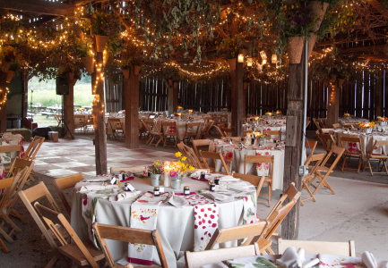 Barn Decorated for Wedding Reception