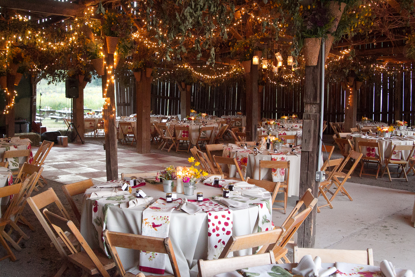 Barn Decorated for Wedding Reception